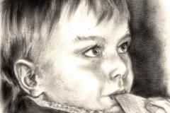 Portrait-Eliot-2021-Oel-trockener-Pinsel-30-mal-30-Papier